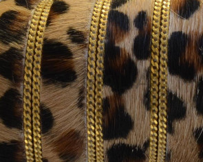 Leopardino Flat leather cord. 15mm. With chain. Gold. Best Quality.