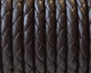 Bolo Braided Round Leather Cord. 5mm. Dark brown. With hole. Inn.0.8mm.approx.