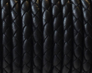 Bolo Braided Round Leather Cord. 4mm. Black. Best Quality.