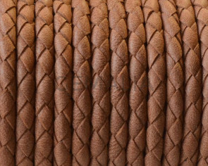 Bolo Braided Round Leather Cord. 4mm. Camel. Matt. Best Quality.