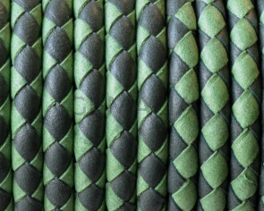 Bolo Braided Round Leather Cord. 5mm. Denver.Grass green-apple green.Inn.1mm.Best Quality