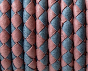 Bolo Braided Round Leather Cord. 5mm. Denver. Grey-pink. Inn.1mm.approx.Best Quality