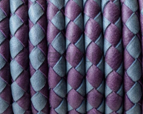 Bolo Braided Round Leather Cord. 5mm. Denver. Violet-grey .Inn.1mm.approx.Best Quality