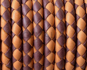 Bolo Braided Round Leather Cord. 5mm. Denver. Burdeaus-orange. Inn.1mm.approx.Best Quality