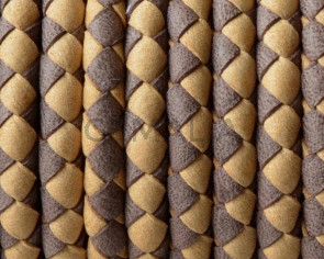 Bolo Braided Round Leather Cord. 5mm. Denver.Dark-light brown.Inn.1mm.approx.Best Quality
