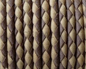 Bolo Braided Round Leather Cord. 3mm. Denver. Beige-dark brown. Best Q.
