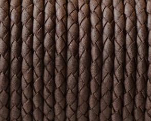 Bolo Braided Round Leather Cord. 3mm. Dark brown. Matt. Best Quality.