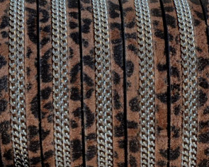 Suede Leather cord with chain. Flat. 10x2mm. Leopard-silver. Best Quality.