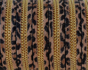 Suede Leather cord with chain. Flat. 10x2mm. Leopard-gold. Best Quality.