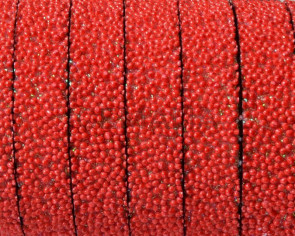 Flat Synthetic Caviar. 10x2mm. Red. Best Quality.