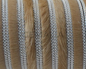 Colored cow hair leather cord. With chain.Flat.10x1.5mm.Beige-silver.Best Quality