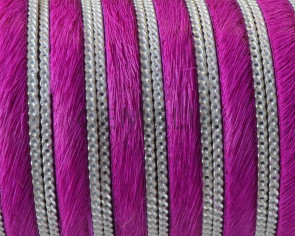 Colored cow hair leather cord. With chain. Flat. 10x1.5mm. Fuchsia-silver.Best Quality