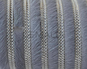 Colored cow hair leather cord. With chain. Flat.10x1.5mm.Grey-silver.Best Quality