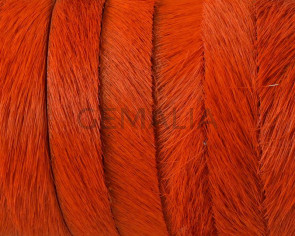 Colored cow hair Flat leather cord. 10x1.5mm. Orange. Best Quality.