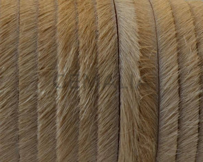 Colored cow hair Flat leather cord. 5x1.5mm. Beige. Best Quality.