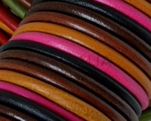 Round Leather cord. 5mm. MIX. Best Quality.