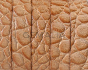 Flat Leather cord. 10x1.5mm. Snake engraved. Natural. Best Quality.