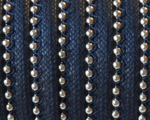 Waxed leather cord with chain. 7x2mm. Navy blue-silver. Best Quality.