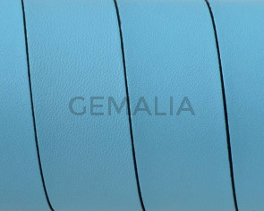Flat Leather cord. 20x1.5mm. Light blue-black. Best Quality.
