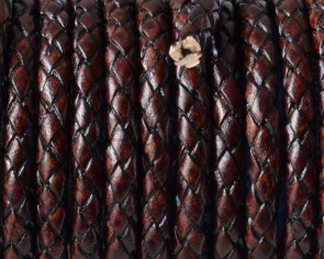 Bolo Braided Round Leather Cord. 5mm. Brown. Best Quality.