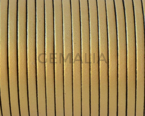 Flat Leather cord. 3x1.5mm. Metalic gold 2.Best Quality