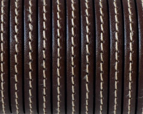 Flat Stitched leather cord 5x1.5mm. Dark brown. Best Quality. Bulk Price.