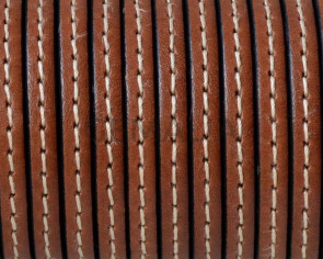 Flat Stitched leather cord. 5x1.5mm. Medium brown. Best Quality