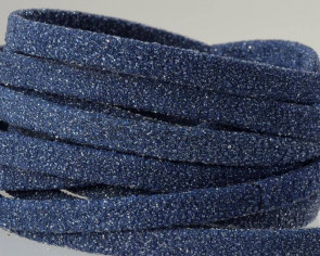 Flat Leather cord. 5x1.5mm. Navy blue. Best Quality.