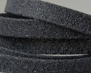 Flat Leather cord. 10x1.5mm. Dark grey. Best Quality.