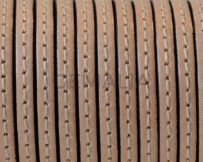 Flat Stitched leather cord 3x1.5mm. Natural. Best Quality. Bulk Price.