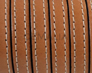 Flat Stitched leather cord.10x2mm. Light brown. Best Quality.