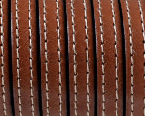 Flat Stitched leather cord10x2mm. Medium brown. Best Quality. Bulk Price.