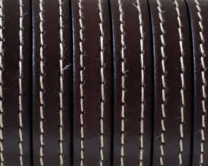 Flat Stitched leather cord.10x2mm. Dark brown. Best Quality.