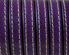 Flat Stitched leather cord10x2mm. Violet. Best Quality. Bulk Price.