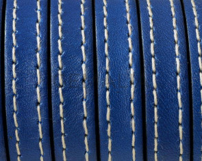 Flat Stitched leather cord10x2mm. Electric Blue. Best Quality. Bulk Price.