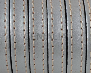 Flat Stitched leather cord10x2mm. Metallic silver. Best Quality. Bulk Price.