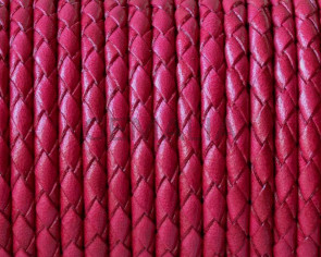 Bolo Braided Round Leather Cord. 3mm. Fucsia. Best Quality.
