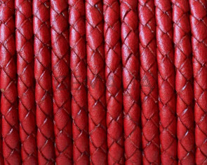 Bolo Braided Round Leather Cord. 3mm. Red. Best Quality.