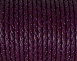 Bolo Braided Round Leather Cord. 3mm. Violet. Best Quality.