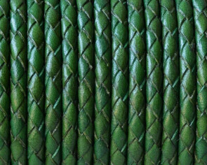 Bolo Braided Round Leather Cord. 3mm. Green. Best Quality.
