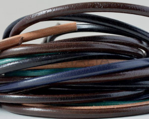 Round Leather cord. 4mm. MIX. Best Quality. 20cm strands