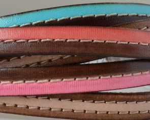 Flat Stitched leather cord. 10x2cm. MIX. Best Quality. 20cm strand