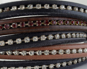 REGALIZ Leather cord with strass. Oval 10x6mm. MIX. Best Quality. 20cm strand