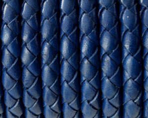 Bolo Braided Round Leather Cord. 5mm. Metalic blue. Best Quality