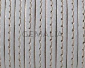 Flat Stitched leather cord. 5x1.5cm. White. Best Quality