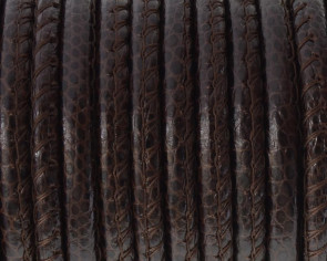 Round Stitched Leather cord. Duala. 5mm. Dark brown. Best Quality