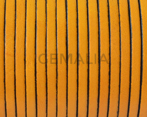Flat Leather cord. 3x1,5mm. Yellow. Best Quality.