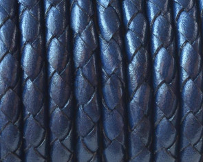 Bolo Braided Round Leather Cord. 5mm. Navy Blue. Best Quality.