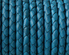 Braided round leather cord 5mm. Turquoise. Best Quality.