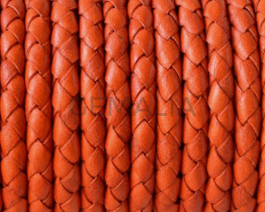 Braided round leather cord 5mm. Orange. Best Quality.